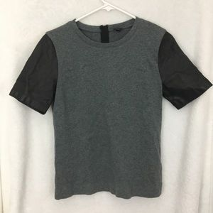 ❤️ 6/$25 Gray Black Tee Shirt Top Leather J. Crew